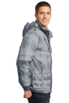 Grey Port Authority Brushstroke Print Insulated Jacket as seen from the sleeveleft