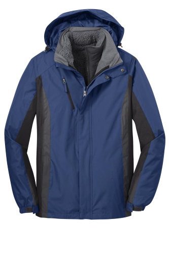 Ad Blu Blk Gry Port Authority Colorblock 3-in-1 Jacket as seen from the front