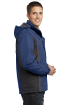 Ad Blu Blk Gry Port Authority Colorblock 3-in-1 Jacket as seen from the sleeveleft