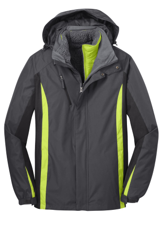 Mag Gy Blk Grn Port Authority Colorblock 3-in-1 Jacket as seen from the front