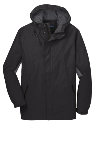 Blk Magnet Gry Port Authority Cascade Waterproof Jacket as seen from the front