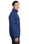 Estate Blue Port Authority Welded Soft Shell Jacket as seen from the sleeveleft