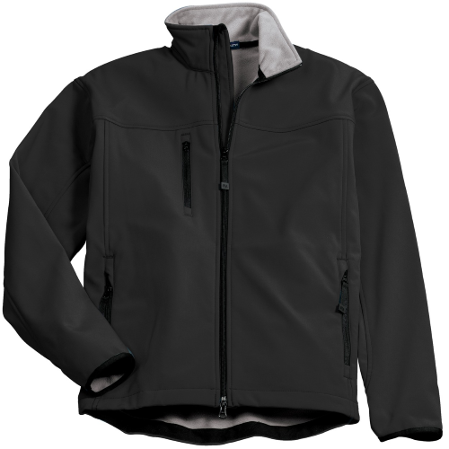 Black Chrome Port Authority Glacier Soft Shell Jacket as seen from the front