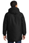 Black Port Authority Heavyweight Parka as seen from the back