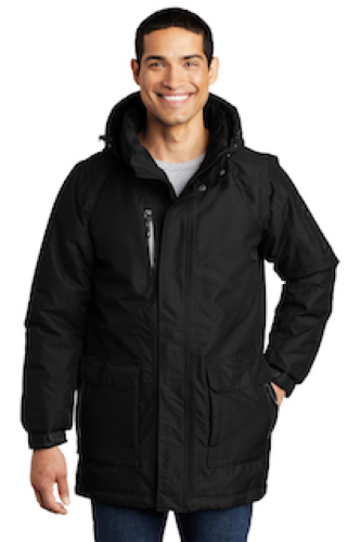 Black Port Authority Heavyweight Parka as seen from the front