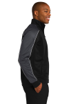 Blk Irn Gry Wh Sport-Tek Piped Tricot Track Jacket as seen from the sleeveleft