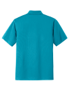 Deep Teal Blue Port Authority Tech Pique Polo as seen from the back