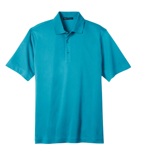 Deep Teal Blue Port Authority Tech Pique Polo as seen from the front