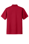 Rich Red Port Authority Tech Pique Polo as seen from the back