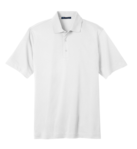 White Port Authority Tech Pique Polo as seen from the front