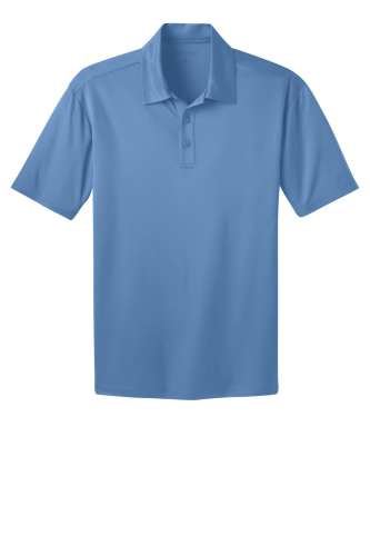 Carolina Blue Port Authority Silk Touch Performance Polo as seen from the front