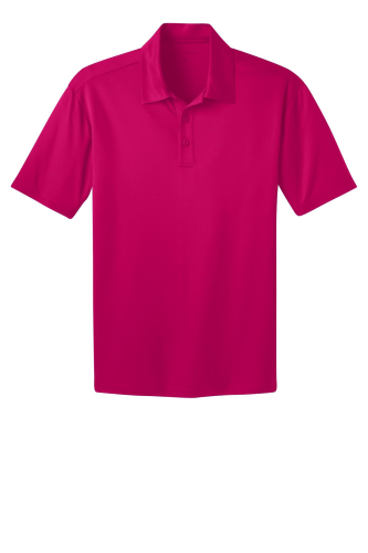 Pink Raspberry Port Authority Silk Touch Performance Polo as seen from the front