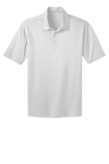 White Port Authority Silk Touch Performance Polo as seen from the front