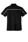 Black Steel Gy Port Authority Silk Touch Performance Colorblock Stripe Polo as seen from the back