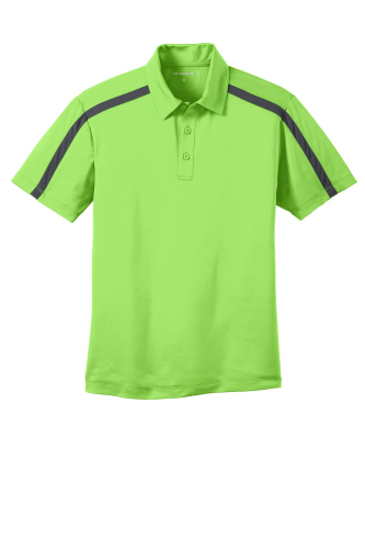 Lime Steelgrey Port Authority Silk Touch Performance Colorblock Stripe Polo as seen from the front