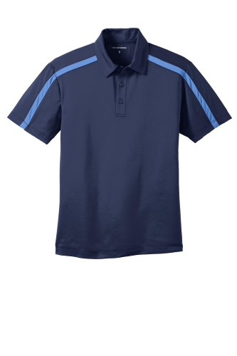 Navy Carolinab Port Authority Silk Touch Performance Colorblock Stripe Polo as seen from the front
