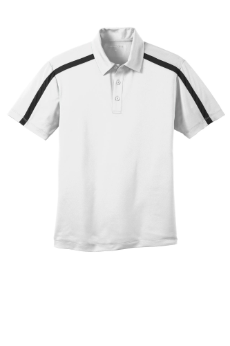 White Black Port Authority Silk Touch Performance Colorblock Stripe Polo as seen from the front