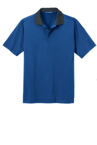 Seap Bl Db Nvy Port Authority Fine Stripe Performance Polo as seen from the front