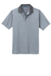 White Shad Gry Port Authority Fine Stripe Performance Polo as seen from the front