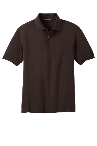 Choc Brown Port Authority 5-in-1 Performance Pique Polo as seen from the front