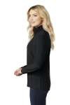 Black Port Authority Ladies Microfleece Jacket as seen from the sleeveleft