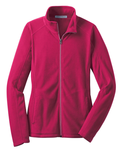 Dark Fuchsia Port Authority Ladies Microfleece Jacket as seen from the front