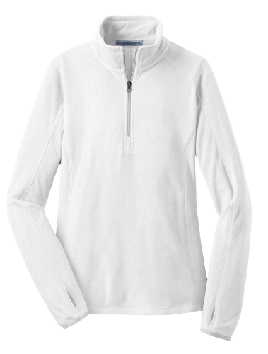 White Port Authority Ladies Microfleece 1/2-Zip Pullover as seen from the front