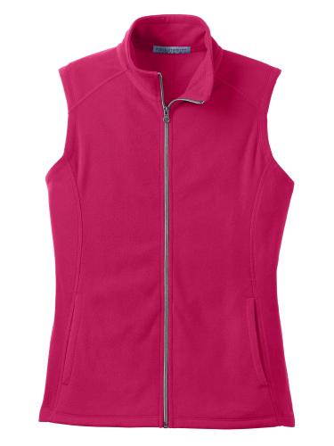 Dark Fuchsia Port Authority Ladies Microfleece Vest as seen from the front