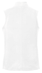 White Port Authority Ladies Microfleece Vest as seen from the back