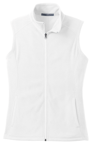 White Port Authority Ladies Microfleece Vest as seen from the front