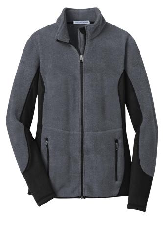 Char Hthr Blk Port Authority Ladies R-Tek Pro Fleece Full-Zip Jacket as seen from the front