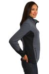 Char Hthr Blk Port Authority Ladies R-Tek Pro Fleece Full-Zip Jacket as seen from the sleeveleft