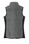Char Hthr Blk Port Authority Ladies R-Tek Pro Fleece Full-Zip Vest as seen from the back