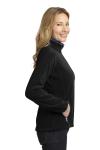 Black Bat Grey Port Authority Ladies Enhanced Value Fleece Full-Zip Jacket as seen from the sleeveleft