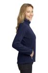 Navy Bat Grey Port Authority Ladies Enhanced Value Fleece Full-Zip Jacket as seen from the sleeveleft