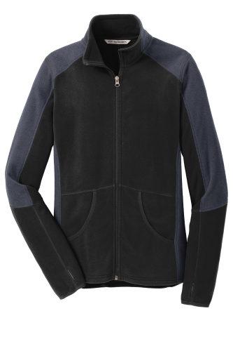 Black Bat Grey Port Authority Ladies Colorblock Microfleece Jacket as seen from the front