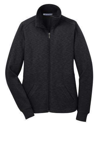 Black Port Authority Ladies Slub Fleece Full-Zip Jacket as seen from the front