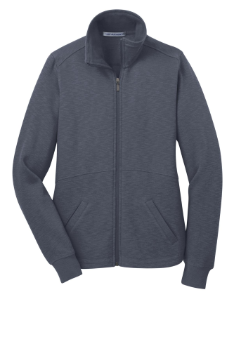 Slate Grey Port Authority Ladies Slub Fleece Full-Zip Jacket as seen from the front