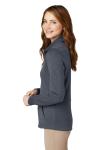 Slate Grey Port Authority Ladies Slub Fleece Full-Zip Jacket as seen from the sleeveleft