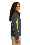 Bat Gry Ch Grn Port Authority Ladies Core Colorblock Soft Shell Jacket as seen from the sleeveleft