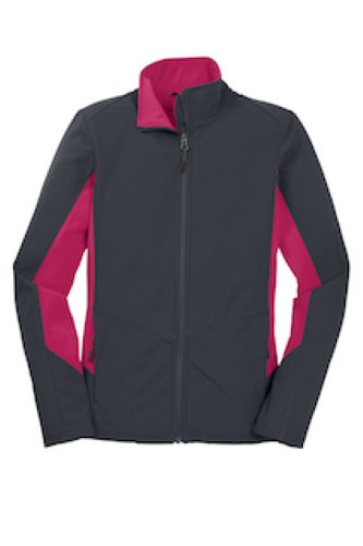 Bat Gry Dk Ros Port Authority Ladies Core Colorblock Soft Shell Jacket as seen from the front