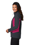 Bat Gry Dk Ros Port Authority Ladies Core Colorblock Soft Shell Jacket as seen from the sleeveleft