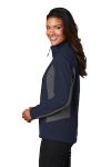 Db Nvy Bat Gry Port Authority Ladies Core Colorblock Soft Shell Jacket as seen from the sleeveleft