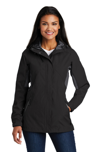 Blk Magnet Gry Port Authority Ladies Cascade Waterproof Jacket as seen from the front