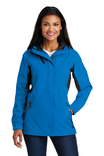 Imperial Bl Bk Port Authority Ladies Cascade Waterproof Jacket as seen from the front