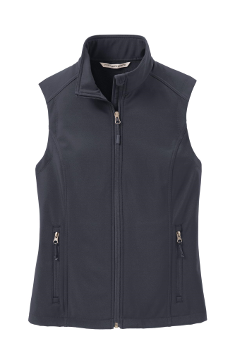 Batlshp Grey Port Authority Ladies Core Soft Shell Vest as seen from the front