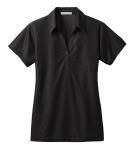 Black Port Authority Ladies Vertical Pique Polo as seen from the front