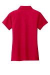 Classic Red Port Authority Ladies Vertical Pique Polo as seen from the back