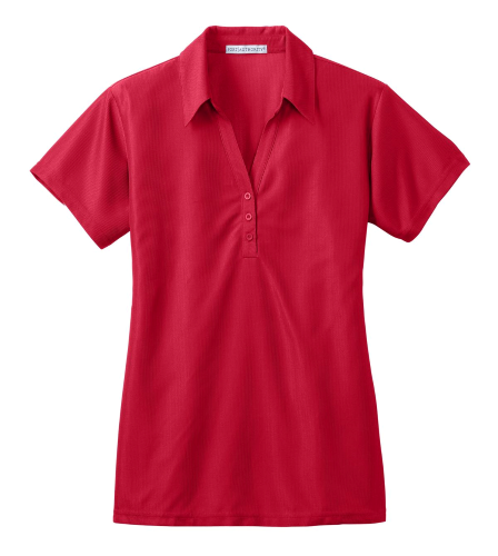 Classic Red Port Authority Ladies Vertical Pique Polo as seen from the front