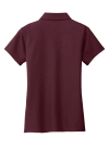 Maroon Port Authority Ladies Vertical Pique Polo as seen from the back